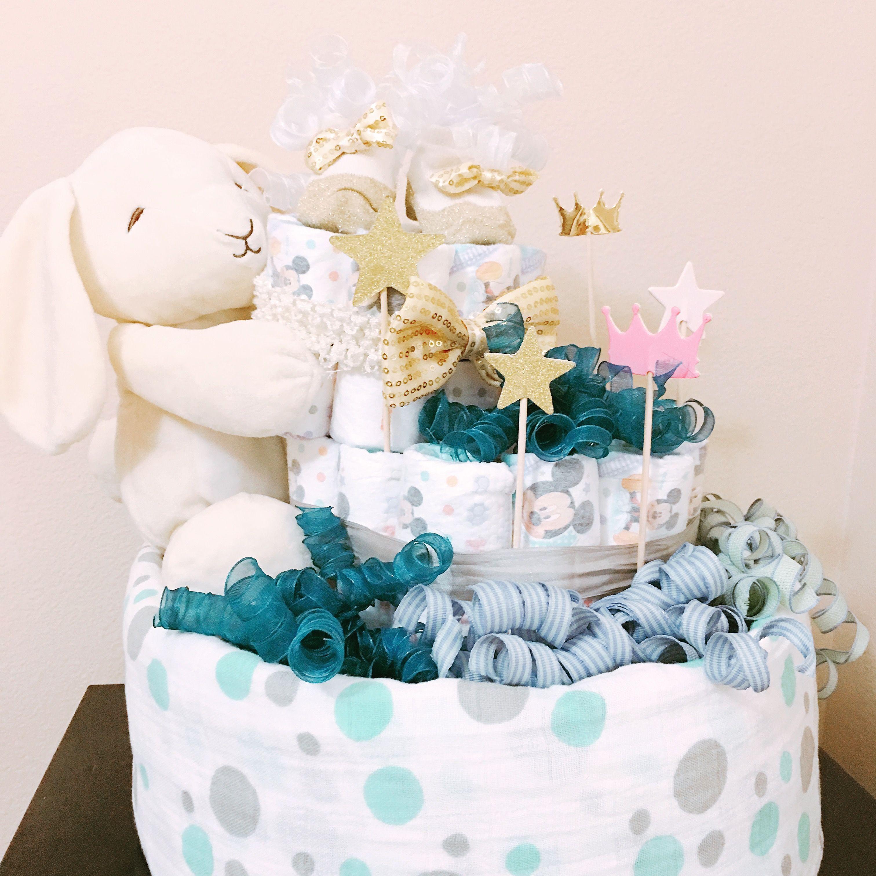 Bunny Diaper Cake for Baby Boy