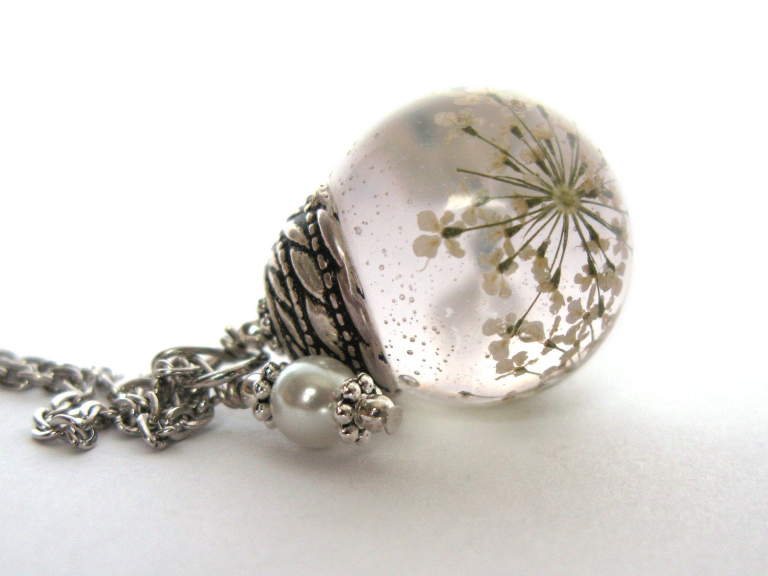 Beautiful queen annes lace resin pendant necklace sphere flowers beautiful queen annes lace resin pendant necklace sphere flowers encased in resin orb 1500 mozeypictures Image collections