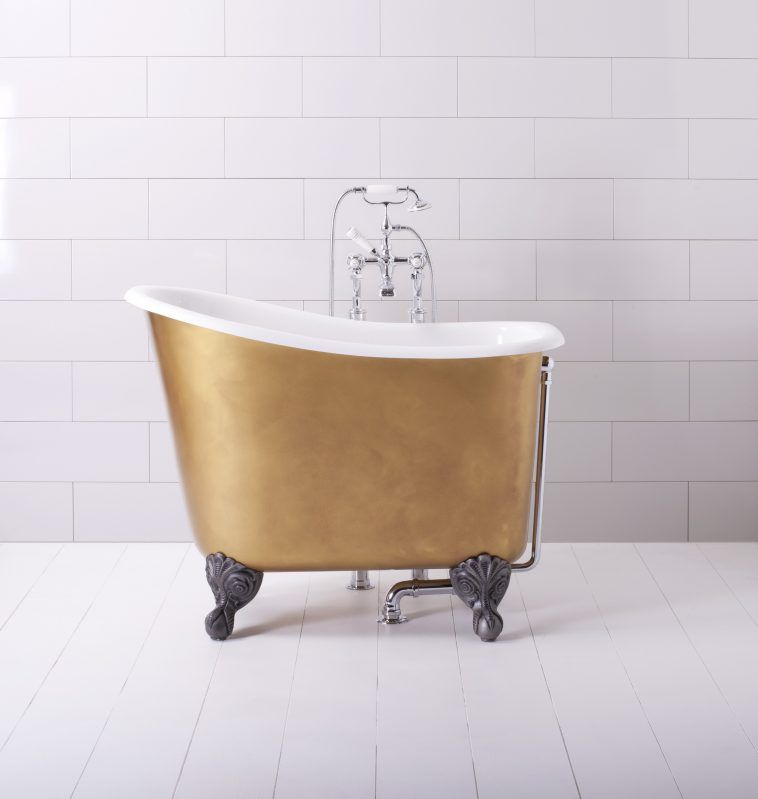 Bathroom Ideas. Gold Fiberglass Small Stand Alone Tub With White ...