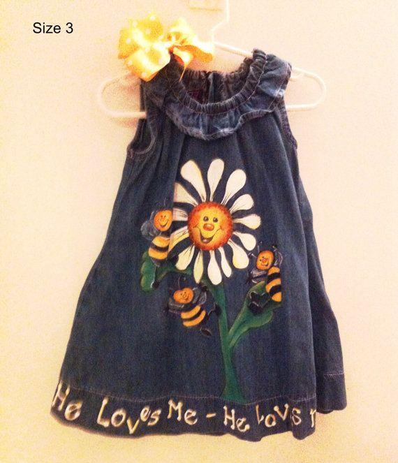 Girls size 3 hand painted dress by Nannygoatskids on Etsy, $35.00