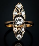 Art Deco Vintage Russian Diamond rings for sale