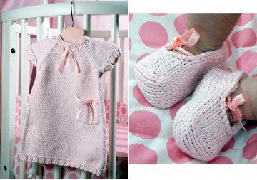 modele tricot robe bebe naissance