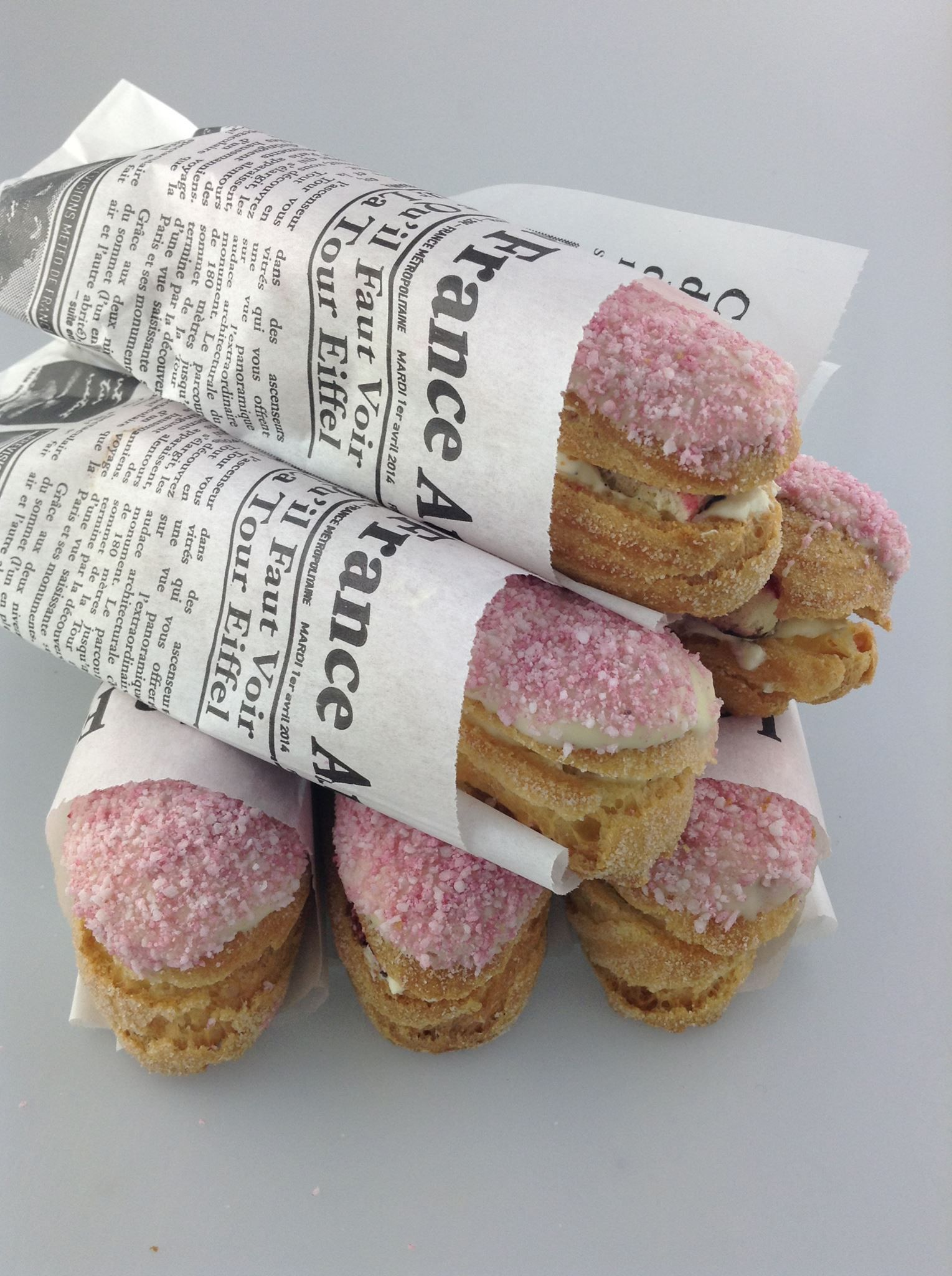 Christophe Adam's interpretation of a Lamington at his choux pastry class at Savour School! eclairs 