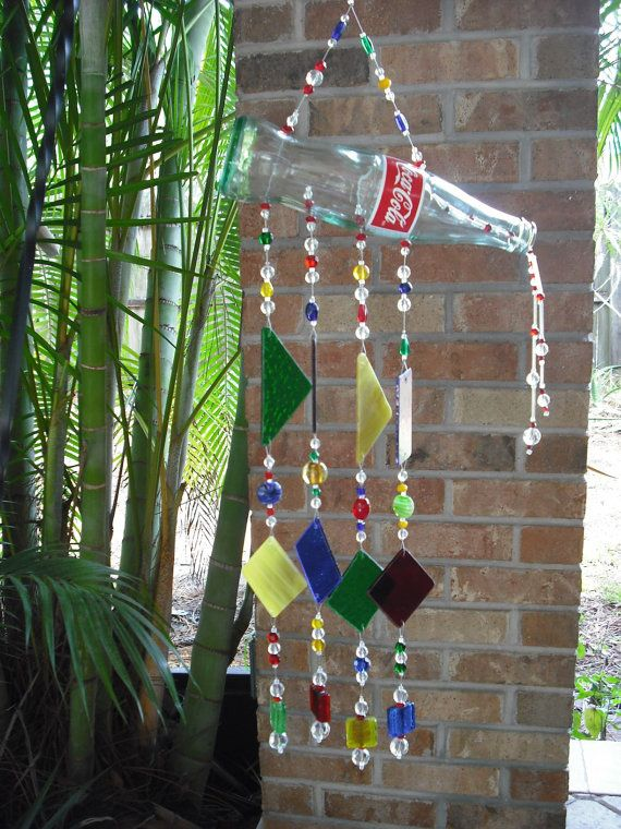 Coca cola wind chime stained glass coke bottle suncatcher for Glass bottle wind chimes