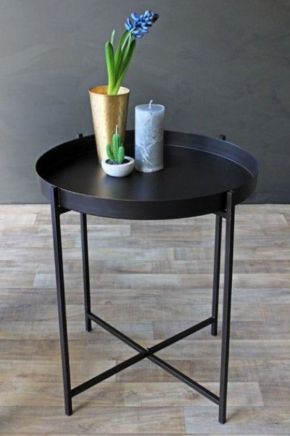 Dream Black Tray Table Black Side Table Round Side Table Black