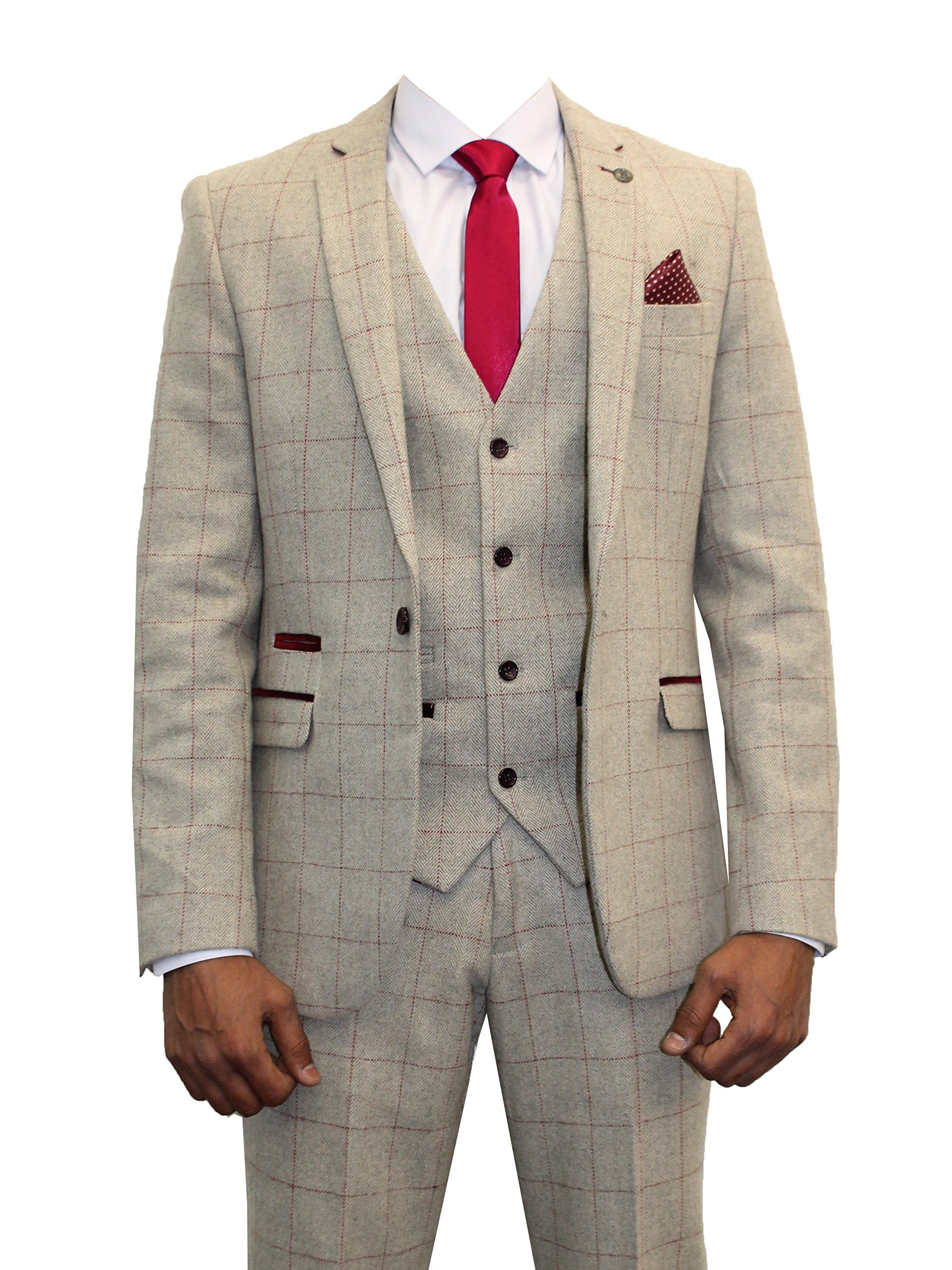 459905bcdf9 Mens Marc Darcy Designer Cream Tweed Herringbone Checkered Vintage 3 Piece  Suit  Amazon.co.uk  Clothing