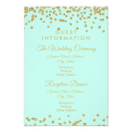Guest Information Gold Glitter Confetti Mint Green Card Glitter - confeti