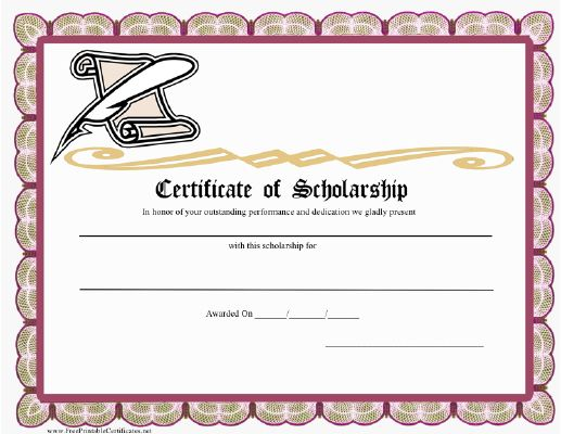 A Certificate Of Scholarship With A Scroll And Feather Pen Free
