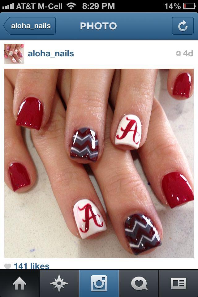 Collegiate University of Alabama nails - Collegiate University Of Alabama Nails Nail Art Pinterest