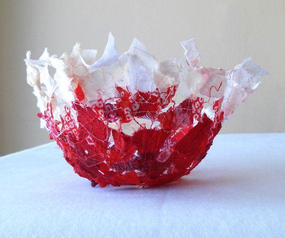 Red Dot fabric round bowl with delicate ruffled edge 4.5 x 3 by Textility. Holiday colors made with recycled materials, makes a unique gift.