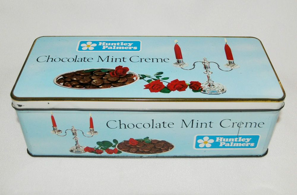 Vtg Huntley & Palmers tin Chocolate Mint Creme c1960s-70s hinged collectable