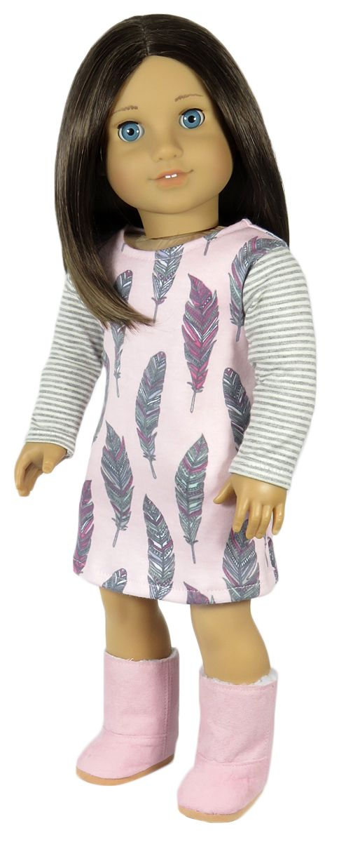 Silly Monkey - Pink Feather Dress with Striped Sleeves, $13.99…