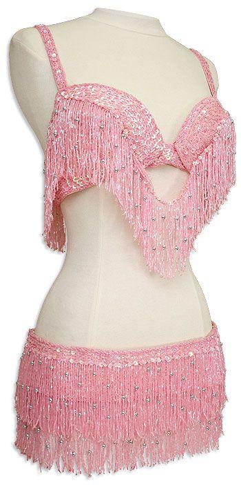 Flamingo Pink Bra and Belt Set Belly Dance Costume www.bergerbeads.net/beadedfringe.aspx