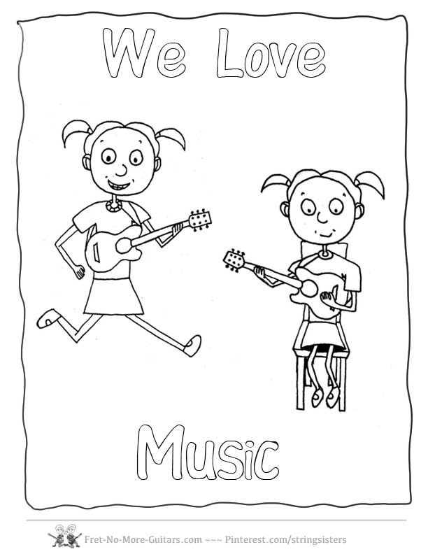 Music Coloring Pages Guitars 1