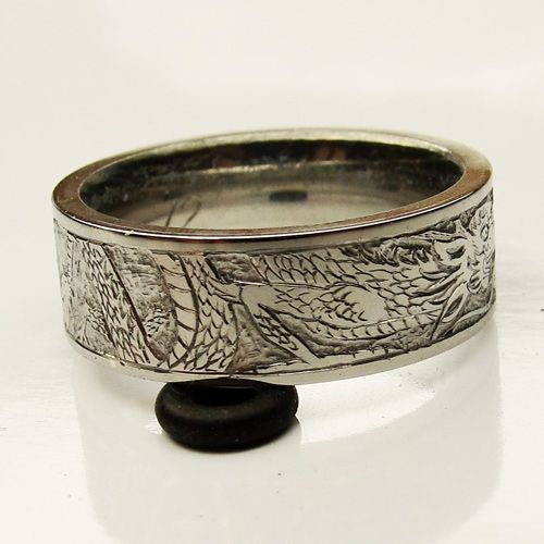 Fresh titanium Dragon Rings for Men Mens titanium wedding ring engraved scrolls and silver inlay