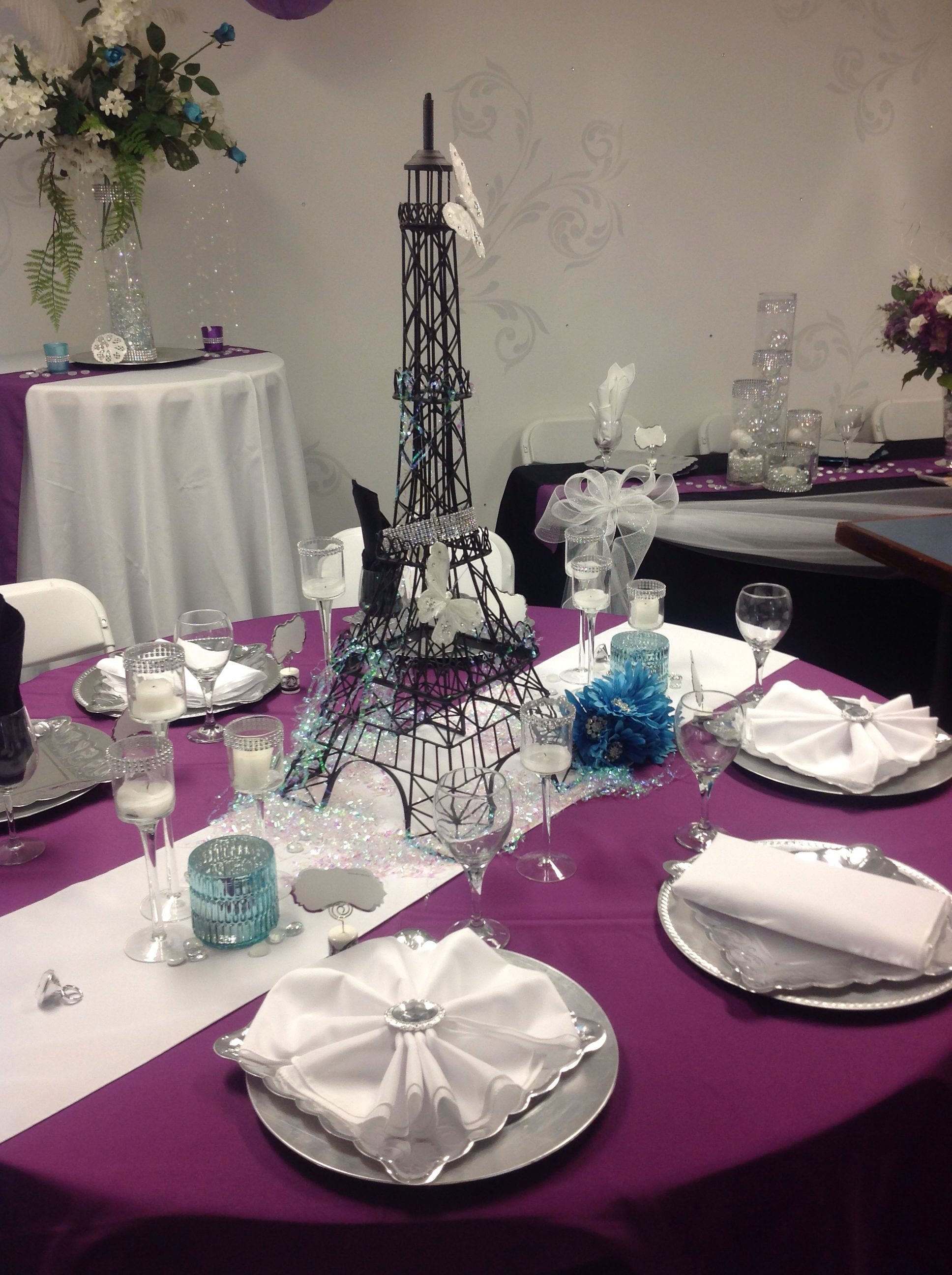 Paris Themed Wedding Table Setting Quinceanera Theme Ideas Themes