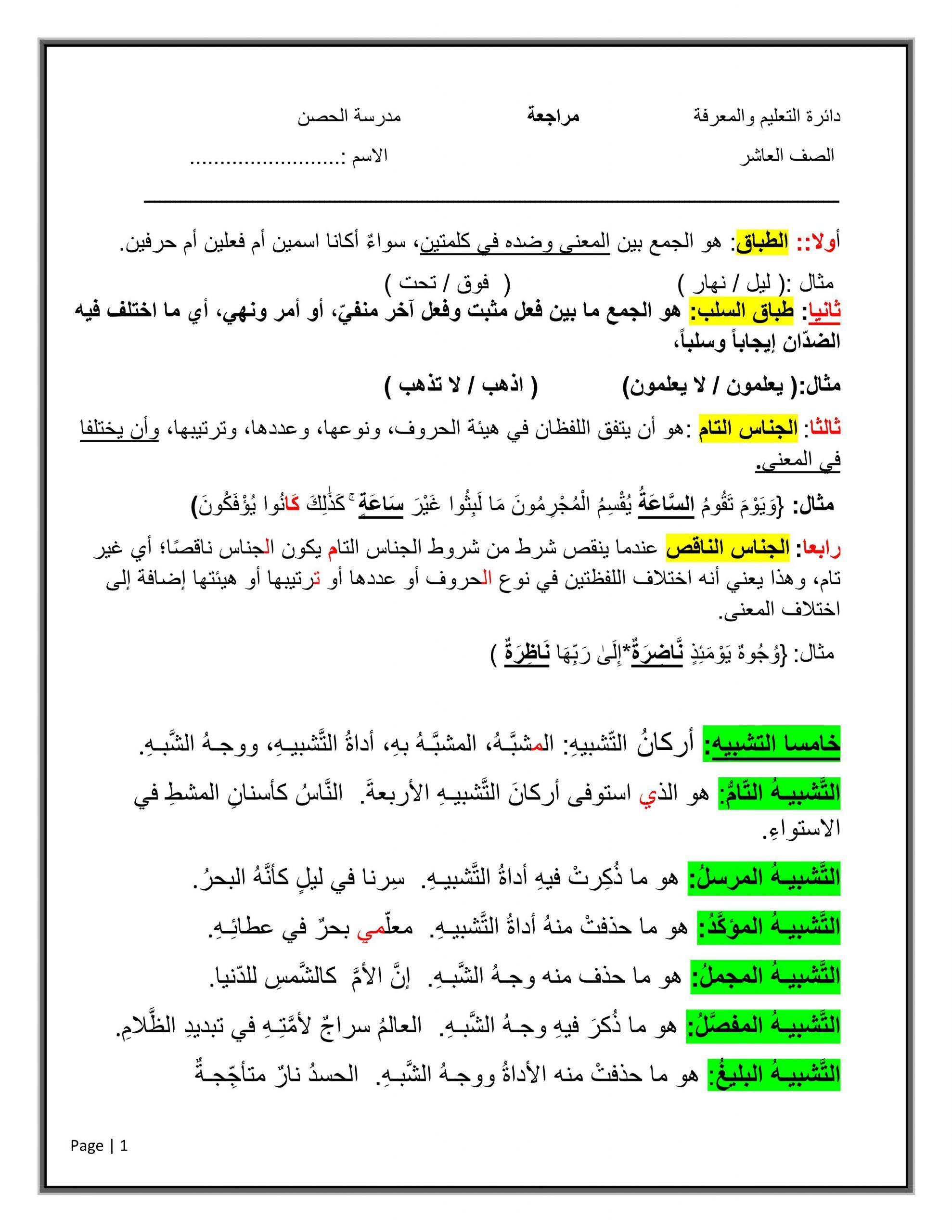 شرح واوراق عمل تمارين مراجعة الصف العاشر مادة اللغة العربية