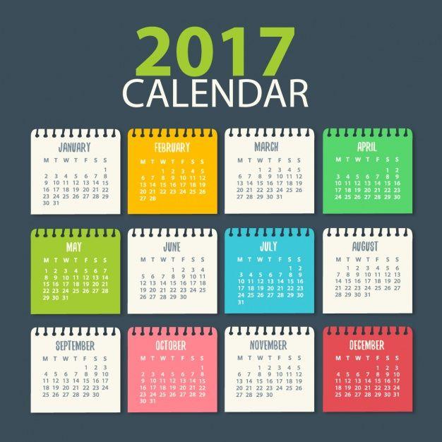 2017 Calendar Template Vector Free Download Doum Gn Pinterest