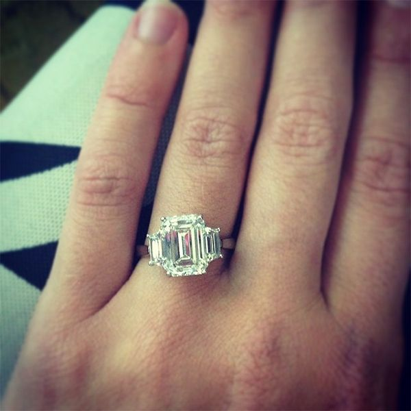3 04ct Emerald Cut Engagement Ring With Tzoid Side Stones