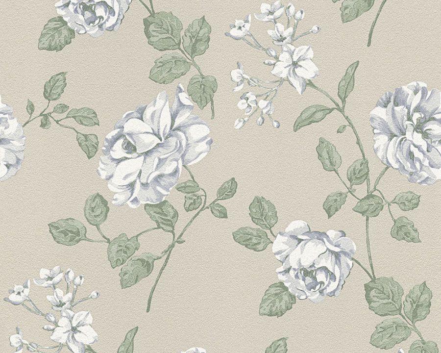 A.S Bali 95481 2 Tapete Vinyl Auf Vlies Floral Braun Beige Weiß Blau (2