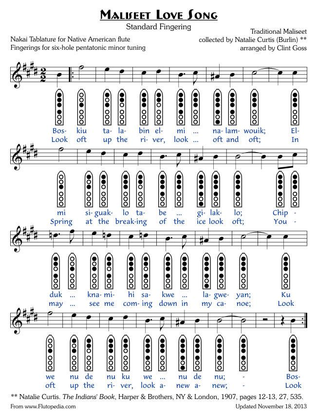 Maliseet Love Song - Six-hole Pentatonic Minor Tuned Flutes - flute fingering chart