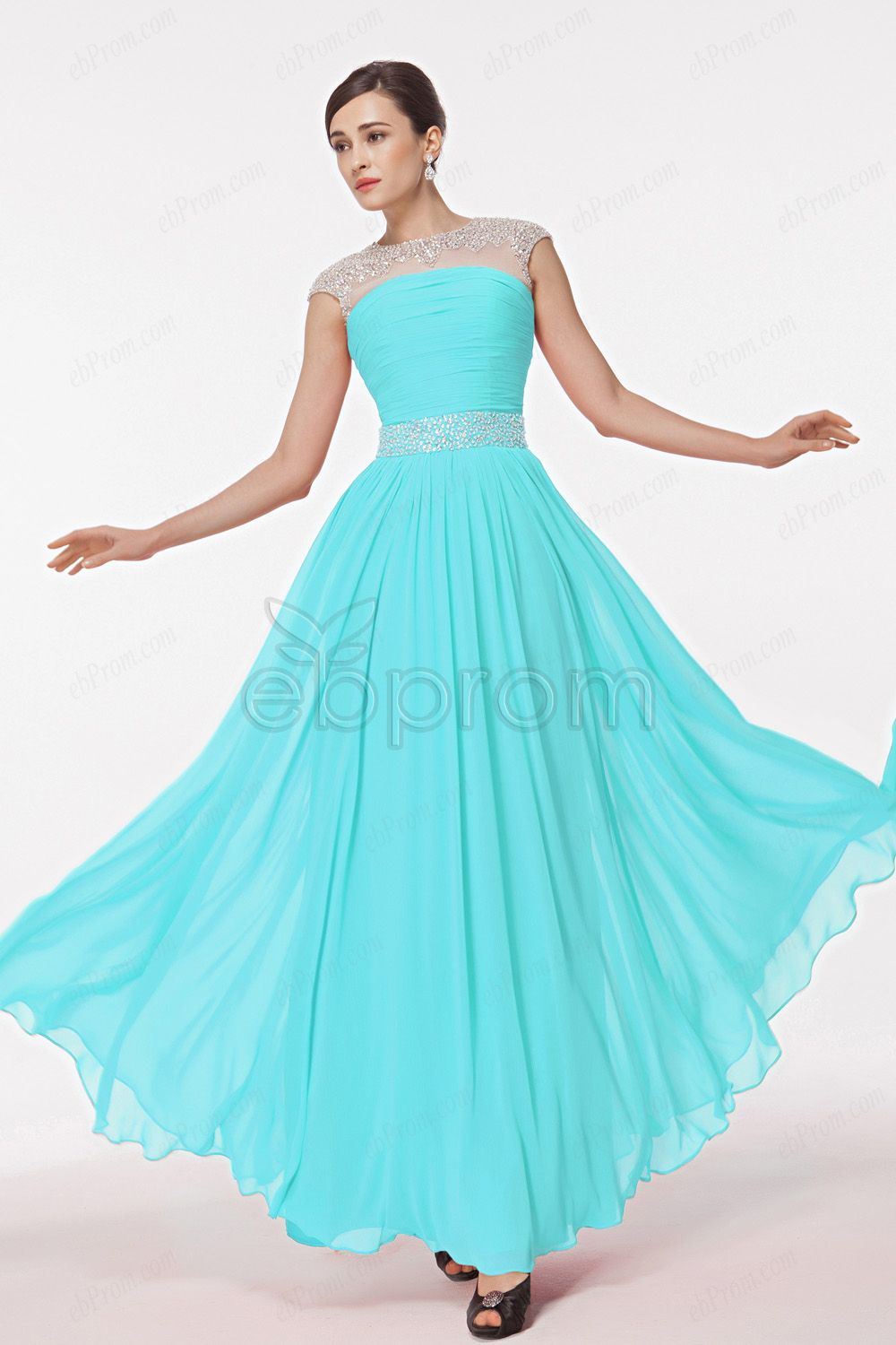 Sky Blue Cap Sleeves Bridesmaid Dress with Crystal Beading ...