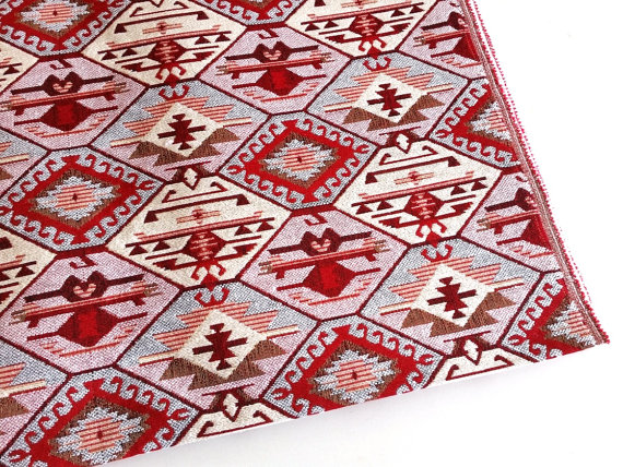 """Red SWATCH 4"""" X 7"""" Designer Kilim Rug Inspired Upholstery Fabric"""
