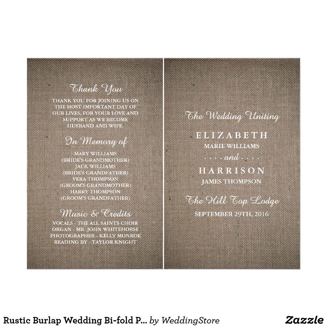 rustic burlap wedding bi fold program template flyer program