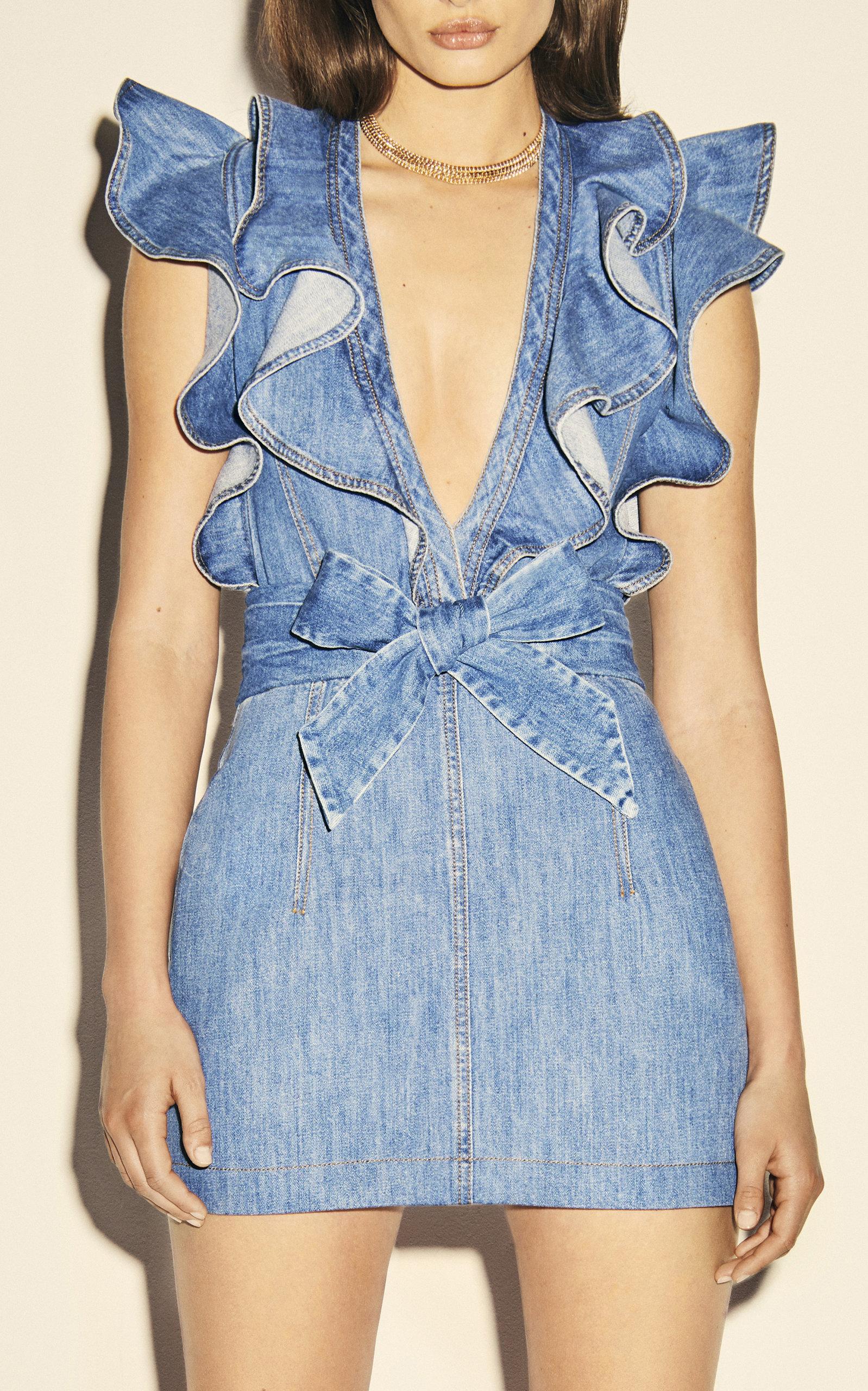 Philosophy Di Lorenzo Serafini Ruffle Accented Denim Mini Dress Denim Mini Dress Mini Dress Fashion [ 2560 x 1598 Pixel ]
