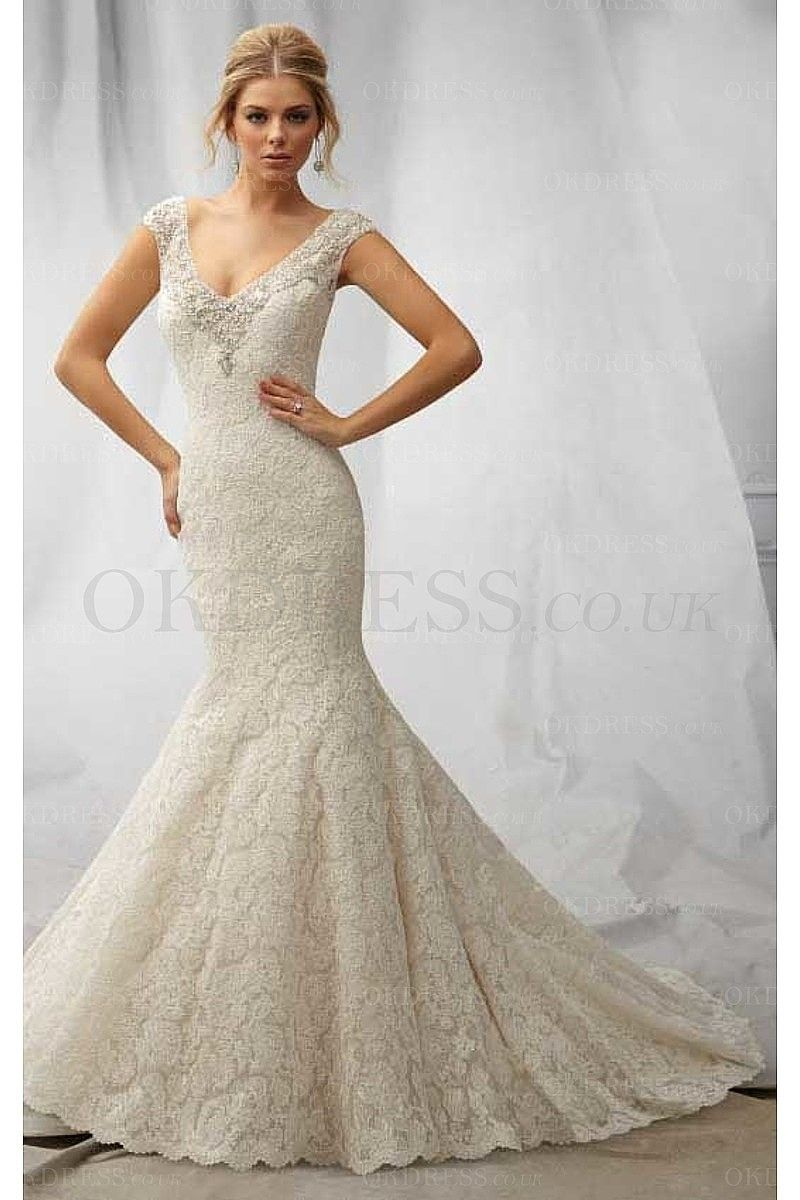 Mermaid lace wedding dress  New Style Lace Mermaid Sleeveless Buttons Wedding Dresses  by