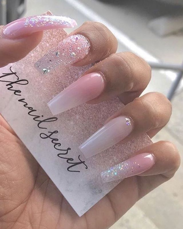 Pin By Ace B On Nails With Images Pink Glitter Nails Prom Nails