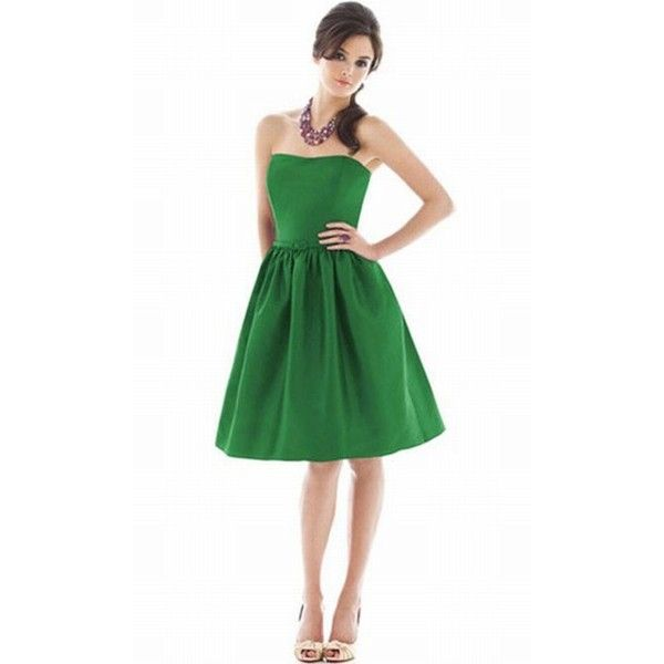 Dessy Alfred Sung Strapless Short Bridesmaid Dress with Pockets D484 ...