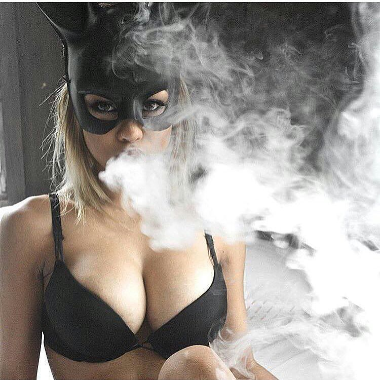 Puffing girl