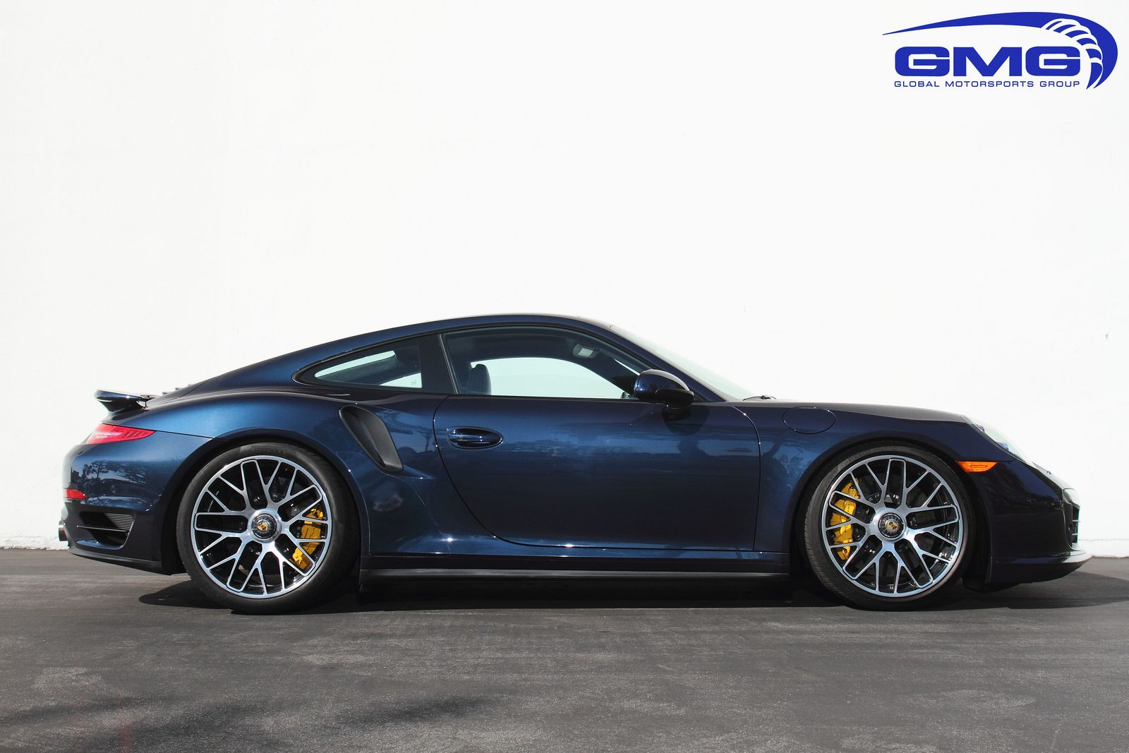 Porsche 991 turbo s dark blue metallic w gmg lowering springs exhaust headers