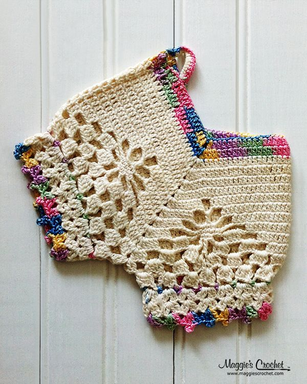 I love the colorful trimming on this vintage crochet potholder ...