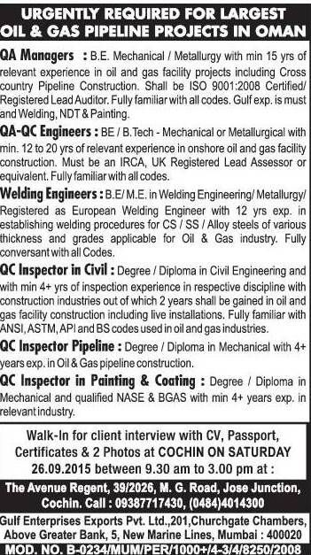 URGENTLY REQUIRED FOR LARGEST OILGAS PIPELINE PROJECTS IN OMAN