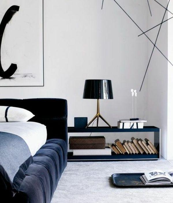 Schlafzimmer Nachttisch Tischlampe Schwarz Design