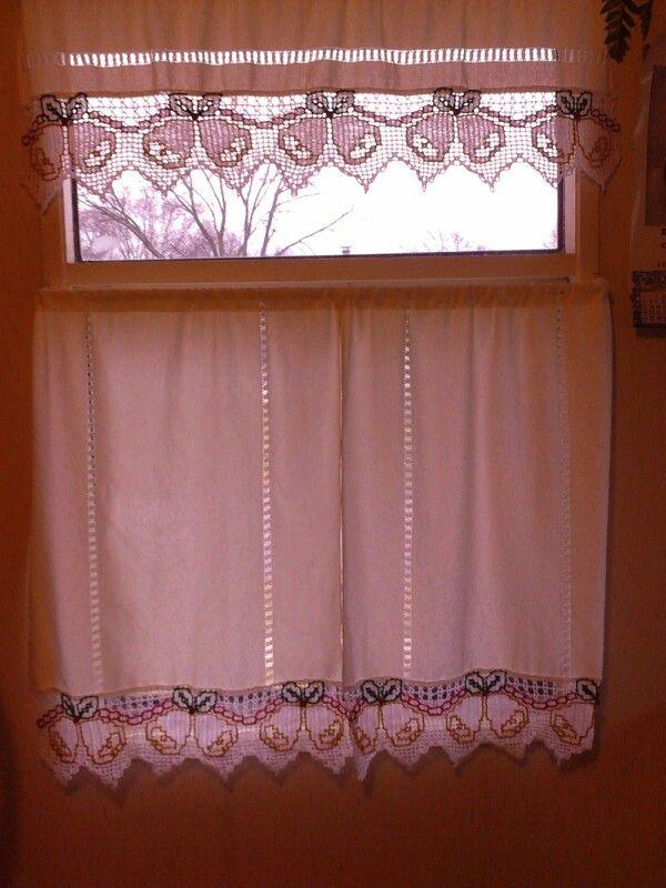cortinas a crochet con desihilado navideñas egz68 Pinterest