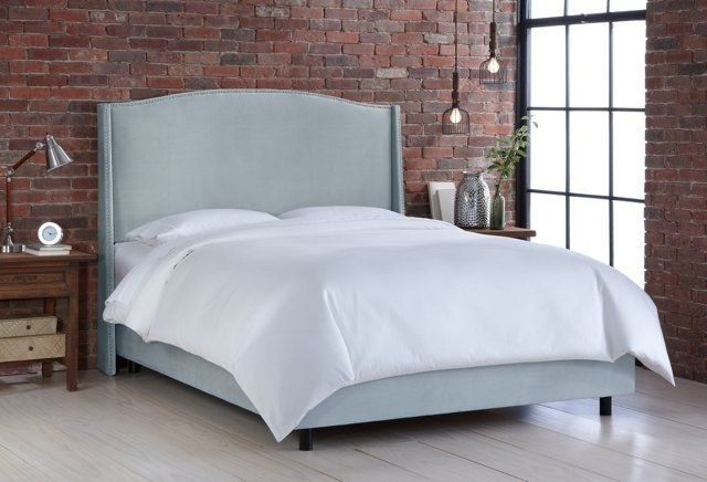 Cole Velvet Wingback Bed, Light Aqua