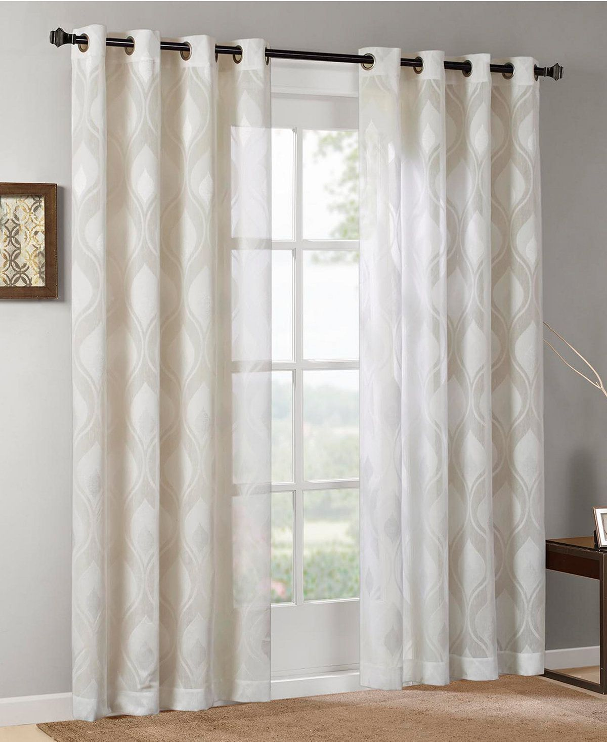 Madison Park Adele 50 X 95 Ogee Jacquard Sheer Grommet Window Panel Window Treatments For The Home Macy S Panel Curtains Curtains Home Decor