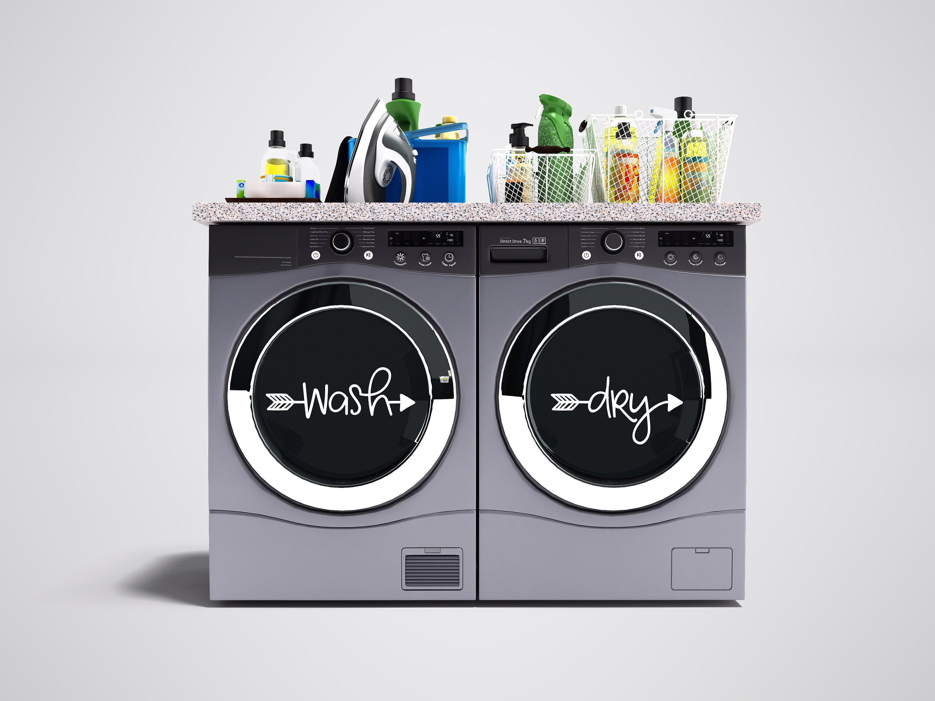 Wash Dry Arrow Vinyl Decal Set Washer And Dryer Vinyl Etsy In 2020 Laundry Room Decals Dry Wash Room Decals