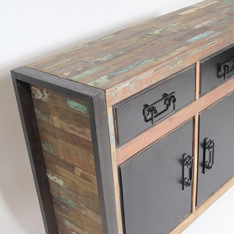 enfilade m tal et bois 3 portes 3 tiroirs inspiration d co d co int rieure et meubles. Black Bedroom Furniture Sets. Home Design Ideas
