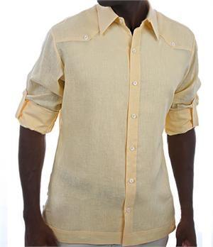 Yellow Linen Shirt, Men's Linen Shirt, Linen Wedding Shirts for Groom or Groosmen