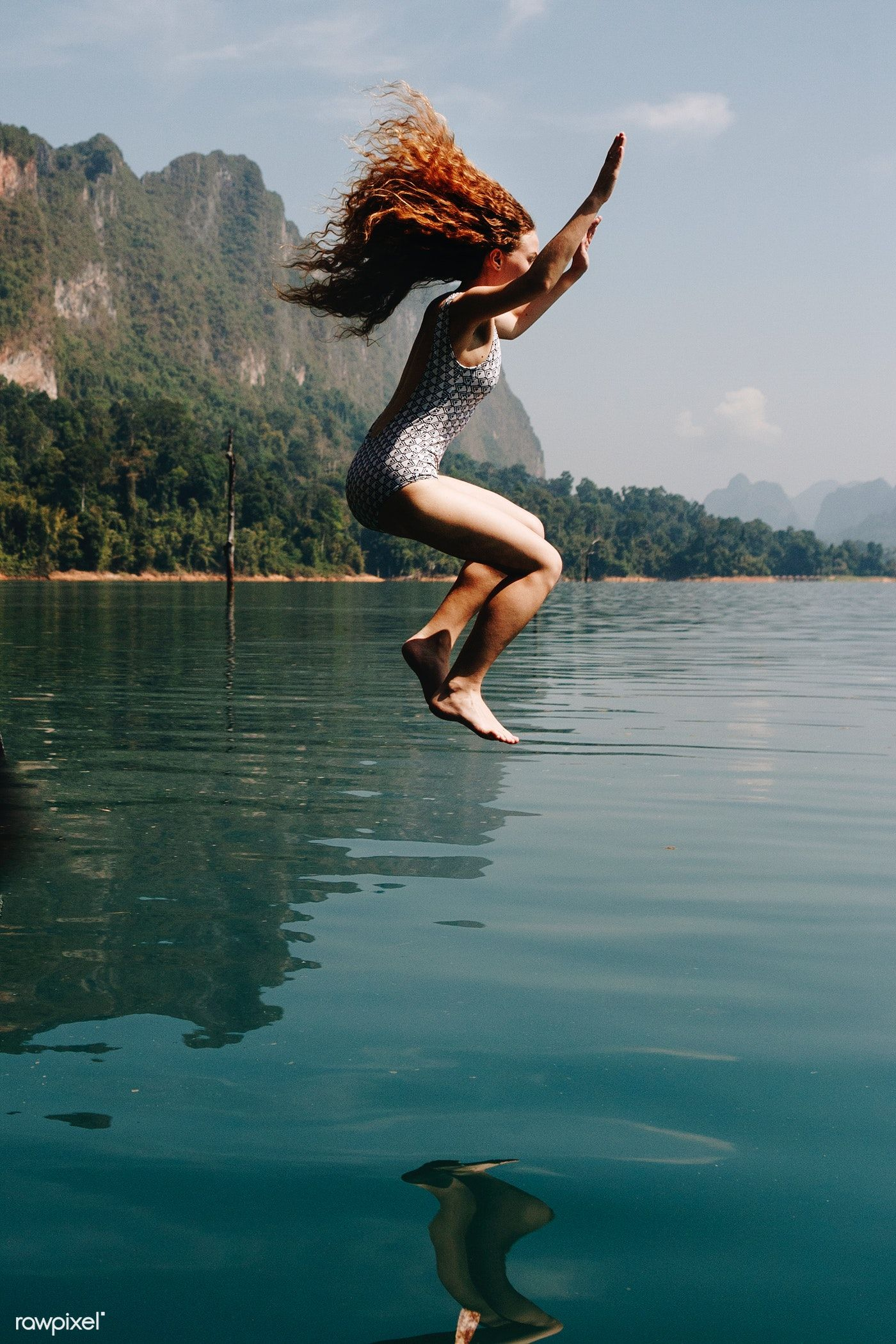 Download premium image of Woman jumping into the water 412227 in 2020 |  Female images, Photo, Water photography
