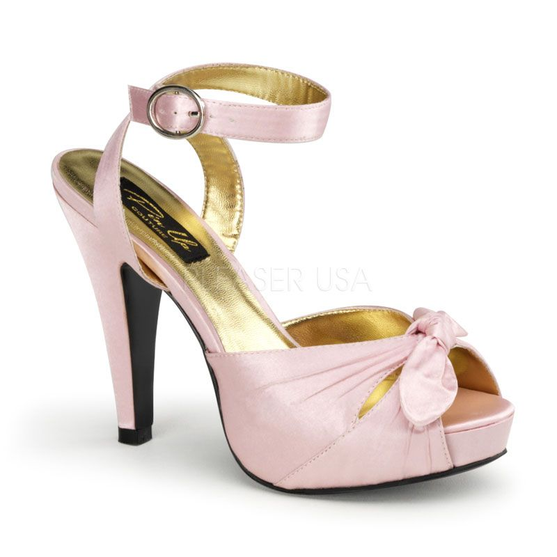 Pin Up Couture - Bettie Pink Satin Ankle Strap Peep Toe Heels UK 3 hyAE3T3i