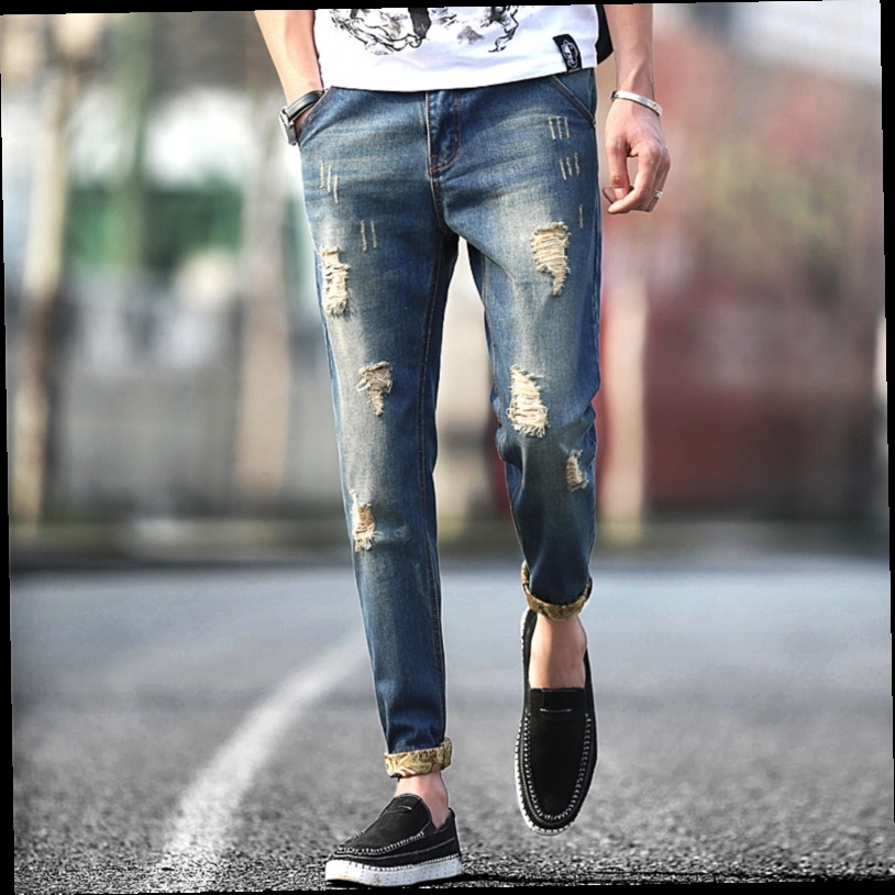 51.99$  Watch now - http://aliy47.worldwells.pw/go.php?t=32633412973 - jeans destroyed men 2016 new fashion retro ripped jeans, man slim fit hole straight denim trousers plus size 40 38 36
