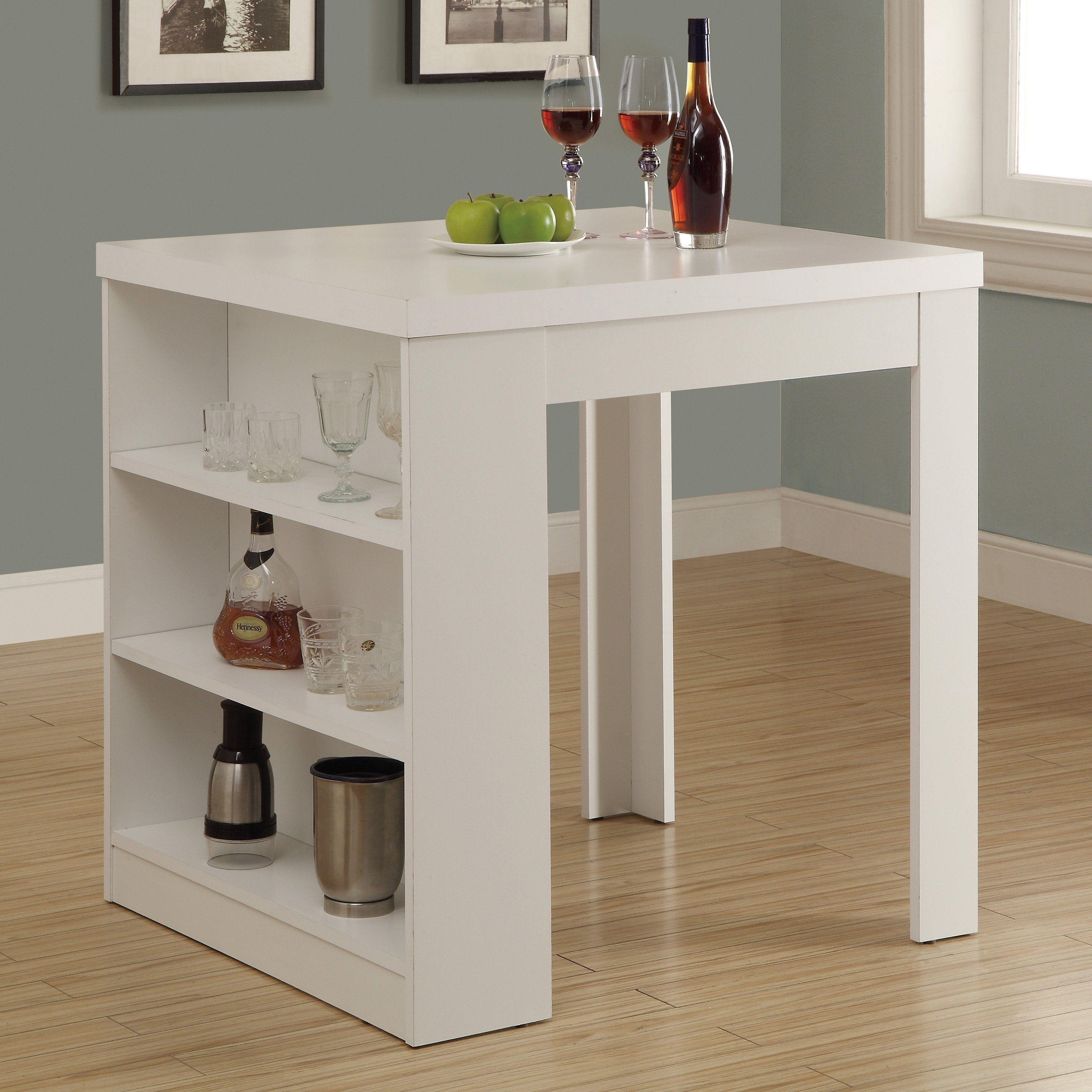 Have To Have It Monarch White Square Counter Height Table With Shelf Storage