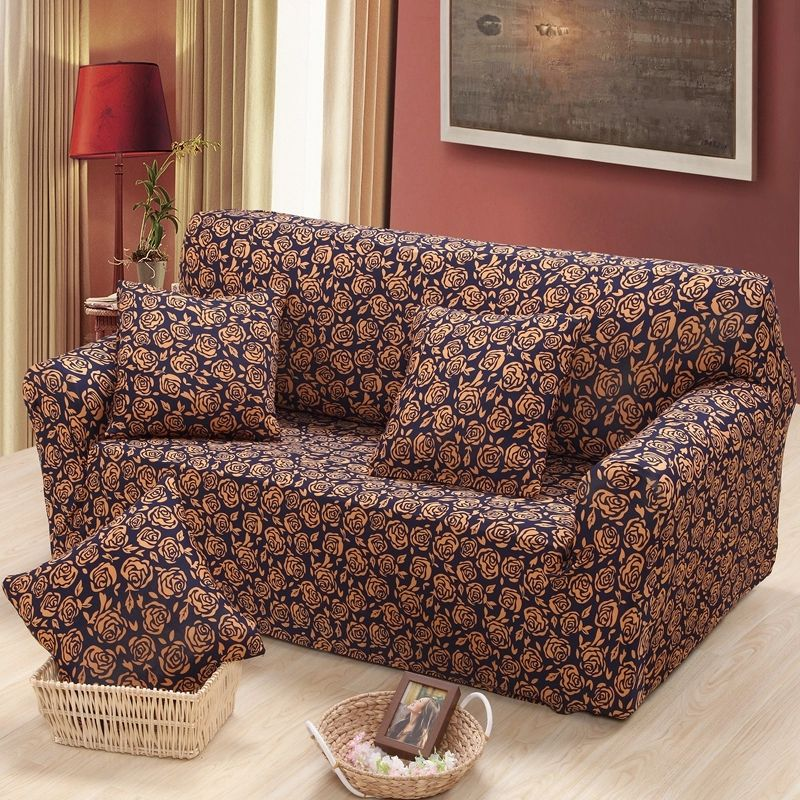 Lovely Camellia Sofa Cover Fabric For Single/double/three Seat Sofa Covers Couch  Cover
