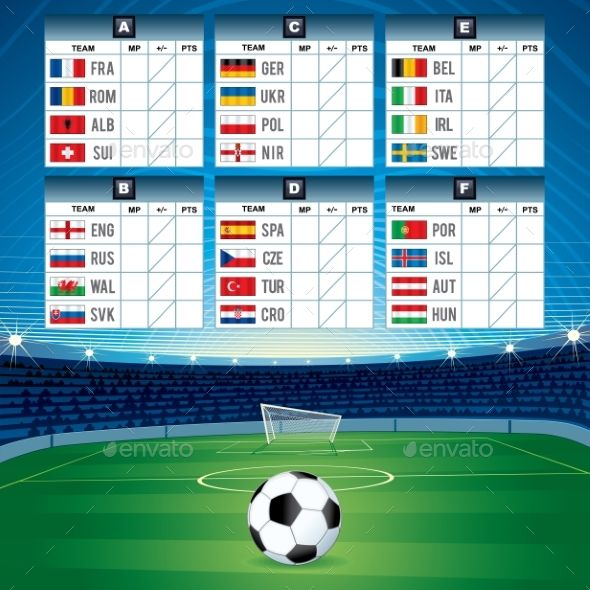 Euro Soccer Table With Flags Graphic Design Soccer Table Design