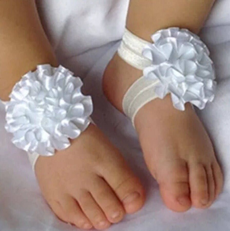 Lovely Foot Flower Barefoot Sandals+Headband Set for Baby Infants Gifts Chiffon